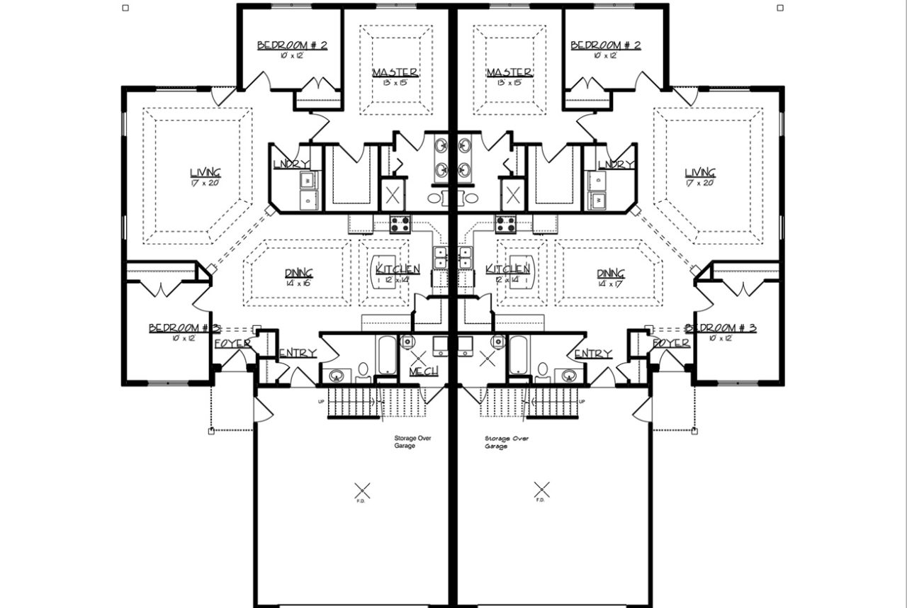 4404 downing twin home paramount builders inc for Slab on grade home plans
